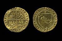 John II of Castile (1406-1454) gold coin. Dobla de la Banda. Obverse, reverse