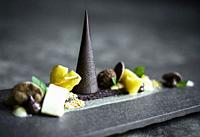 gourmet modern creative chocolate cake and dried fruit dessert dish on slate.