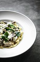 gourmet organic italian ricotta mushroom and fresh mixed herbs tagliatelle.