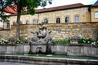 Wittelsbacher fountain opposite the Margravial Opera House, Opernstrasse, Castle church's vicarage in the background, Bayreuth, Upper Franconia, Bavar...