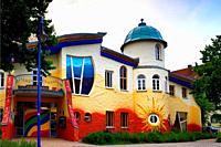 Kinderhaus Bayreuth at Munckerstrasse, interesting colorful architecture similar to Austrin architect Friedensreich Hundertwasser works by architect K...