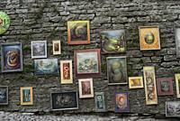Art work for sale, Old Town, Tallinn, Estonia, Baltic States.
