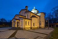 Herten, D-Herten, Ruhr area, Westphalia, North Rhine-Westphalia, NRW, church Heiliger Dimitrios, Greek Orthodox church, evening, illumination *** Loca...
