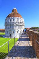 Medieval defensive walls trail, Pisa, Tuscany, Italy, Europe.