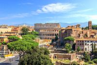 Coliseum and Roman Forum view from the Altar of the Fatherland, Rome, Italy.