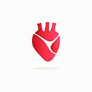 Human heart icon with shade on a white background. Vector illustration