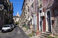 Via Gesuiti, Old Town, Catania, Sicily, Italy.