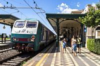 Train, Railway Station, Taormina, Sicily.