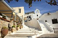 Stairs leading up to the chapel in the old town Chora, Naxos Island, Cyclades Islands, Greek Islands, Greece, Europe