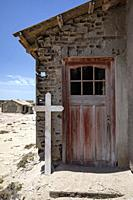 Doorway of home in abandoned Mining Town of Elizabeth Bay - near Luderitz, Namibia, Africa.