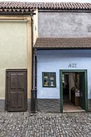 The house where Franz Kafka lived, Golden Lane, Prague Castle. Czech Republic.