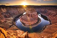 Sunset over Horseshoe Bend and the Colorado River, Glen Canyon National Recreation Area, Arizona USA.