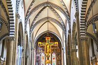 Santa Maria Novella church interior, Florence, Tuscany, Italy, Europe.