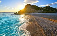 La Caleta beach playa in Villajoyosa of Alicante in Spain also Vila Joiosa at Costa Blanca.