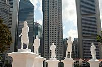 Singapore, Republic of Singapore, Asia - The statue of Sir Thomas Stamford Raffles is temporarily seen at the Singapore River along with four more sta...
