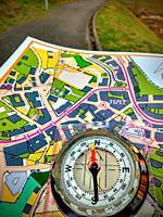 Nava, Asturias, Spain, October 25th 2018: Navigation equipment in the sprint orienteering race called ´Desafio Nava 2018´