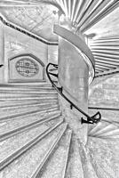 Jefferson Market Spiral Stairs NYPL BW - Interior view to the spiral staircase of the Jefferson Market Branch, New York Public Library, which was once...