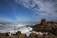 waves and rocky shore, Pointe de La Torche, Atlantic Ocean, Plomeur, Finistere, Bretagne France