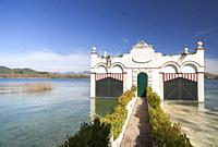 Landscape,lake view and typic house over water in Banyoles,Catalonia,Spain.