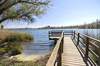 Landscape lake with wooden lookout in Banyoles,Catalonia,Spain.