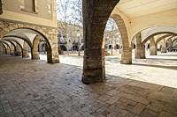 Archs in main square of Banyoles,Catalonia,Spain.