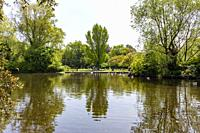 View of the lake of St Stephen's Green in Dublin, Ireland.