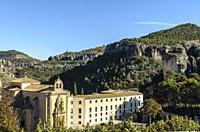 View of Convento de San Pablo, old monastery now turned into a Parador Nacional (State run hotel). Cuenca, Spain.