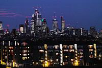 London City after sunset, London, England, Great Britain