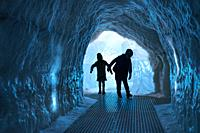 Glacier Ice Cave Exhibit, Perlan Museum (The Pearl) Reykjavik, Iceland. .