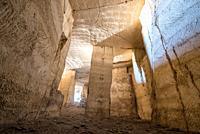 Interior view of Bazda Caves for mining of stone in Harran,Sanliurfa,Turkey.