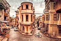 Panoramic Vintage view of Traditional Street and houses at balat area. Street view in historical Balat district. Balat is popular attraction in ISTANB...