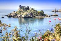 Sicily Italy view of the famous, Isola Bella, in Taormina.