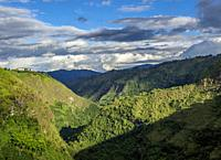Magdalena River Valley seen from La Chaquira, San Agustin, Huila Department, Colombia.