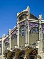 Exterior of the Central Market (Mercat Central / Mercado Central), Valencia, Spain, Europe. The Central Market is a large indoor market containing ove...