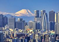 Japan, Tokyo City, Shinjuku Skyline and Mount Fuji.
