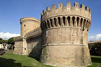 castle and tower in the village of Ostia Antica, near Rome, Italy.