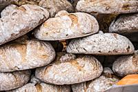Rustic bread at Candas street market, Asturias, Spain.