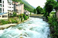 The Gave (stream mountain) de Cauterets go through the town. Cauterets town, Hautes-Pyrénées department, Occitanie region, France.