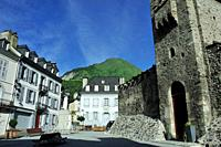 The Church of Hospitallers of St John of Jerusalem or the Templars, 12th- 13th centuries. Luz-Saint Sauveur city, Hautes-Pyrénées department, Occitani...