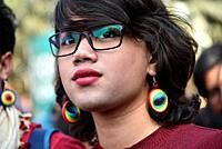 Queer Pride Walk. Guwahati, Assam, India. Feb. 03, 2019. Members and supporters of the Lesbian, Gay, Bisexual, Transgender (LGBT) community during Que...