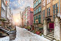 Mariacka street, a famous old european street in Gdansk, Poland, no people.