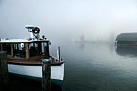 Konigsee lake ferry ship docked at Schonau port, Bavaria, Germany.