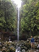 Madeira, Portugal A waterfall at the Rabaçal 25 Fountains Levada walk.
