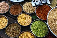 Lentils and sprouts for sale at vegetable market Pune, Maharashtra.