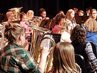 Middle Schoolers Playing in Band, Wellsville, New York, USA.