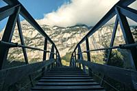 Small bridge in the Lauterbrunnen valley, Swiss Alps. This valley is one of the beautiful valleys in the Alps.