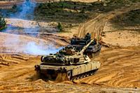 "Tanks Abrams in Latvia. International Military Training """"Saber Strike 2017"""", Adazi, Latvia, from 3 to 15 June 2017. US Army Europe-led annual Intern..."