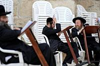Old Town of Jerusalem, religious Jews on the Wailing Wall (Hakotel), Israel