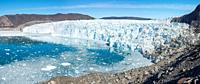 Eqip Glacier (Eqip Sermia or Eqi Glacier) in Greenland. Polar Regions, Denmark, August.