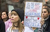 Las Palmas, Gran Canaria, Canary Islands, Spain. 2nd February 2019. Venezuelans living in Las Palmas on Gran Canaria joined thousands of fellow Venezu...